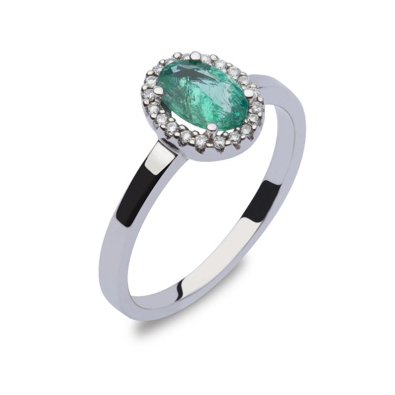 Sortija esmeralda y diamantes