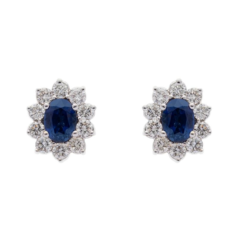 Pendientes zafiro y diamantes