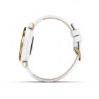 Garmin Lily™ Bisel en oro claro con carcasa y correa de cuero italiano en blanco